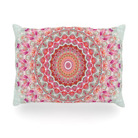 "Iris Lehnhardt ""Summer Lace III"" Circle Pink Green Oblong Pillow"