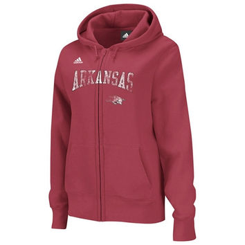 adidas Arkansas Razorbacks Red Women's Distressed Classic Full-Zip Hooded Sweatshirt