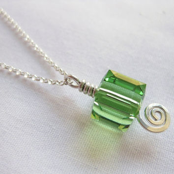 Swarovski Cube Crystal Necklace OR Necklace and Earrings Set in Peridot Green by The Celtic Elf, Crystal Cubes Set, Spring Jewelry