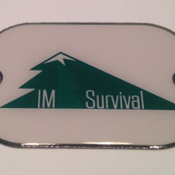 IM Survival Logo Stainless Steel 2 Hole Dog Tags- Paracord Bracelets Necklaces Pendants Key Fobs