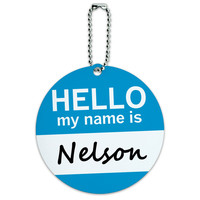 Nelson Hello My Name Is Round ID Card Luggage Tag