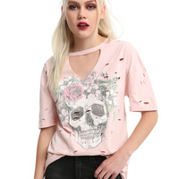 Floral Skull V Cutout Choker Distressed Girls T-Shirt