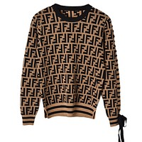 Fendi Autumn And Winter Women High Quality New Fashion More Letter Print Long Sleeve Top Knit Sweater Coffee