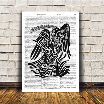 Bird art Phoenix poster Modern decor Dictionary print RTA175