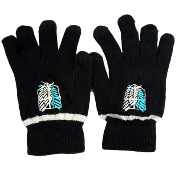 Naruto Sasauke ninja Fashion Gloves Anime  Attack On Titan Black Butler Death Note Full Finger Plush Knit Glove Mitten Cosplay Screen Touchable AT_81_8