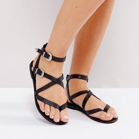 ASOS FIASCO Wide Fit Western Buckle Flat Sandals at asos.com