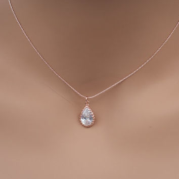 Rose gold diamond pendant necklace rose gold teardrop necklace rose gold  crystal pendant necklace rose gold 2b1435783