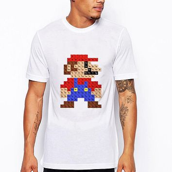 Men T shirt Hipster Printed T Shirts Short Sleeve Tops Super Mario periodic table