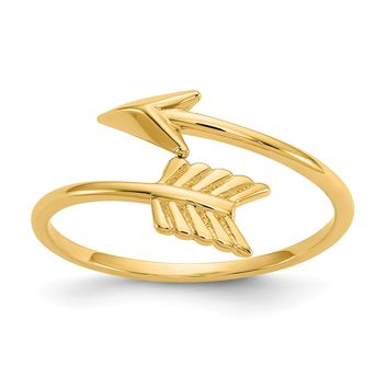 14k Yellow Gold Solid Adjustable Wrapped Arrow Ring