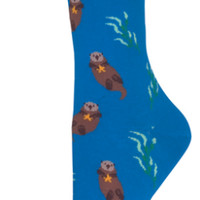 Women's Novelty Crew Socks - Playful Otter Print Cotton Blend & Nylon