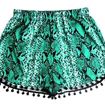 Green Printed Elastic Waist Shorts