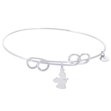 Sterling Silver Carefree Bangle Bracelet With Angel Charm