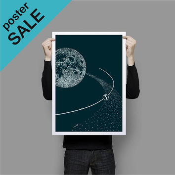 SALE 15% OFF ON Sale Moon and Earth Poster Print Wall Art Teal