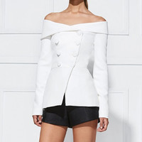 Sama White Off The Shoulder Blazer