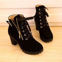 Women'€™s Leather Lace UP High Top Wedge heels Sneaker Shoes Lady Ankle boot