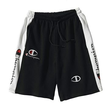 Champion Summer Popular Women Men Leisure Embroidery Print Elastic Waistband Sport Shorts Black I13172-1