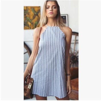 Striped Sleeveless Stripes Cotton Linen Cotton One Piece Dress = 4806626692