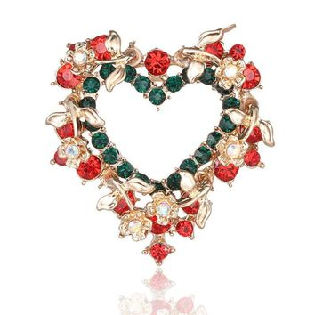 Christmas Brooch Heart-shaped Inlaid Rhinestone