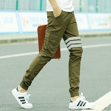 Khaki Striped Joggers