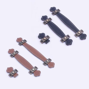 Vintage Leather Zinc Alloy Cabinet Knobs Handles Brown Black Kitchen Cupboard Drawer Pull Handle Single Hole/96Mm/128Mm