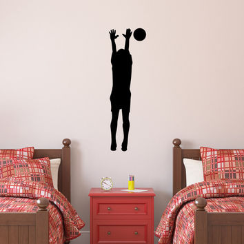 Volleyball Wall Sticker Decal - Male Defense Player Blocking Silhouette Decoration - #4
