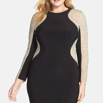 Plus Size Women's Xscape Beaded Illusion Sleeve Jersey Body-Con Dress,
