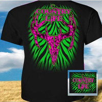 Country Life Outfitters Black & Pink Green Stripe Deer Skull Head Hunt Vintage Bright T Shirt
