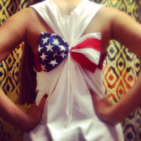 USA AMERICAN FLAG Bow Racer Back Tank Top July 4th Swimsuit Cover-up Bridesmaids Gift