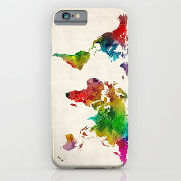 Watercolor Map of the World Map iPhone & iPod Case by ArtPause