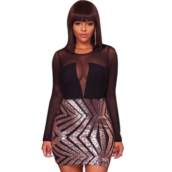 HAMBELELA Special Occasion Women Bodycon Backless Long Sleeve Sequin Party Mini Dress Vestido De Festa Curto Sexy Bandage Dress