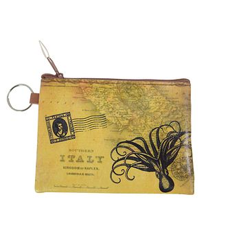 Vintage Map Globetrotter Italy Toilers of the Sea Octopus Coin Purse Keychain