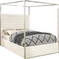 Porter White Velvet Queen Bed