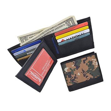 Camouflage RFID Blocking Soft Leather Men's Camo Multi-Card Compact Center Flip ID Card Holder Bifold Military Style Wallet
