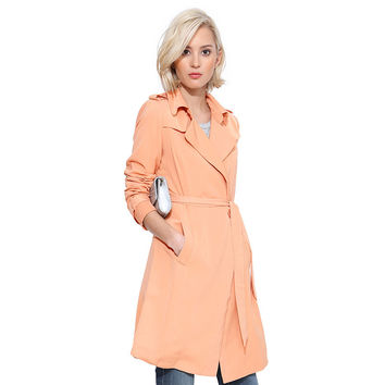 Casual Doll Collar Long Sleeve Coat With Belt