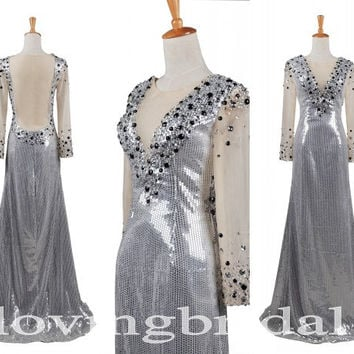 2013 New Fashion Girl Sequined Full Lace Sleeve Open Back Shinning Crystal Long A-line Mermaid Formal Party Evening Dresses