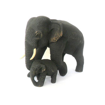 "Hand Carved Elephant With Baby Wood Carving Elephant Natural Teak Wood Elephant Handmade Wooden Elephant Art Home Decor / Gift 6.5""x4.75"""