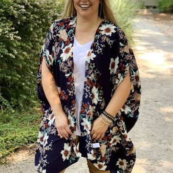 Floral to Fall For Navy Kimono