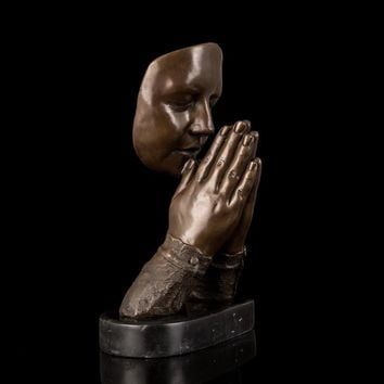 Bronze Sculpture Of Woman In Prayer On Marble Base