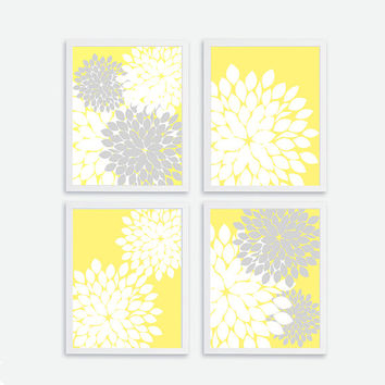 Printable Flower set of 4, Instant Download, Flower Wall Art Decor, Baby, Kids Nursery Art Print Decor, Baby Room, Flower Yellow Gray,  8x10