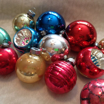 Lot of 12 Vintage Glass Christmas Ornaments in Shiny Brite Box