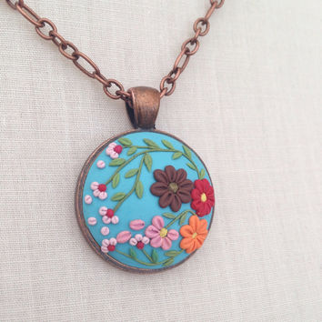 flower necklace - embroidery flower clay -  boho necklace - blue statement necklace - jewelry embroidery handmade cabochon - clay