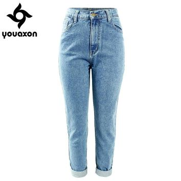 Women High Waist Washed True Denim Pants Jean Femme Boyfriend Jeans (light Blue) (denim Size In Inches 24 30) 1886 Youaxon
