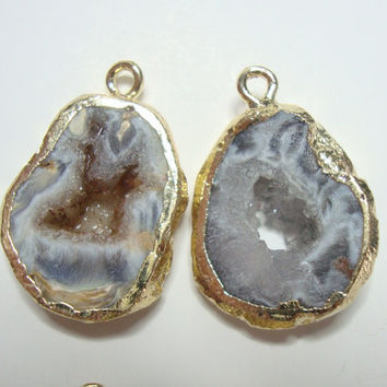 Natural Geode Slice crystal Druzy Drusy 24k Gold Electroplated Pendants, Earring Pair, 1 pair, M13-3