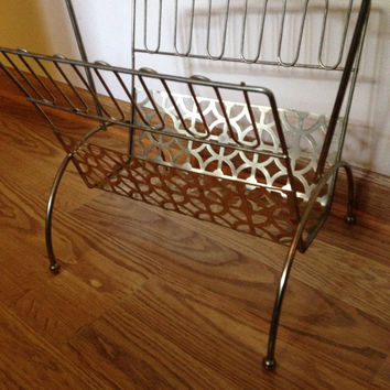 Vintage Mid Century Gold Metal Magazine Rack Magazine Holder
