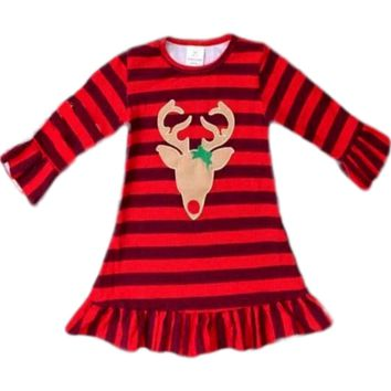 Girls Buffalo Reindeer Dress, Red