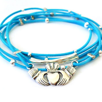 Claddagh Bracelet Set (Blue and Sterling Silver)