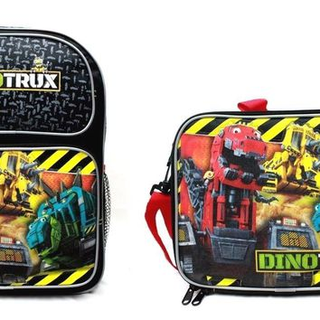 "Dreamworks DinoTrux 14"" Canvas Black School Backpack Plus Insulated Lunch Bag"
