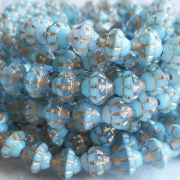 Lot of 25 small 5mm x 6mm saturn or saucer beads, opaque milky blue and transparent crystal mix with gold accents, Czech glass spacer bead C7625