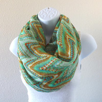 Chevron Printed Scarf, Peacock Feather Scarf, Geometric print scarf, Fashion Scarf, Gift Idea