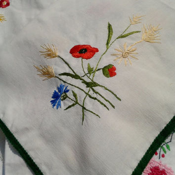 Red Poppy Ear of Wheat Handmade Hand Embroidered Tablecloth Antique French Linen & Cotton Green Braid Edge Floral Design